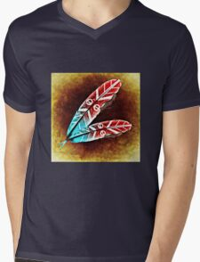 Colorful Feather Mens V-Neck T-Shirt