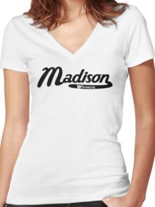 Madison Wisconsin Vintage Logo Women's Fitted V-Neck T-Shirt
