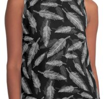 Black and white feathers pattern  Contrast Tank
