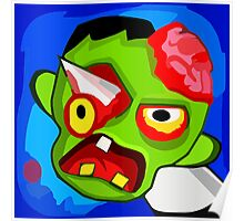 Scary Halloween Zombie Monster Cartoon Poster