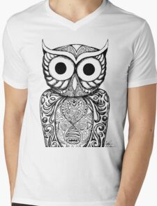 Patterned Owl Mens V-Neck T-Shirt