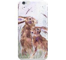 Hares among barley iPhone Case/Skin