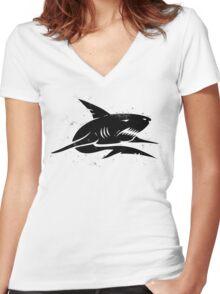 black shark Women's Fitted V-Neck T-Shirt