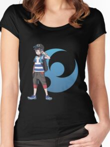Pokémon Sun and Pokémon Moon - Trainer (Male) w/ Moon Logo Women's Fitted Scoop T-Shirt