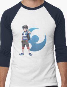 Pokémon Sun and Pokémon Moon - Trainer (Male) w/ Moon Logo Men's Baseball ¾ T-Shirt