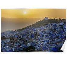 Chefchaouen medina in Morocco at sunset, HDR image. Poster