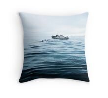 Dolphins in open sea Throw Pillow