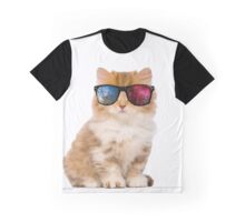 Cat-Space glasses Graphic T-Shirt