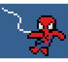 8-Bit Swinging Spider-Man Photographic Print