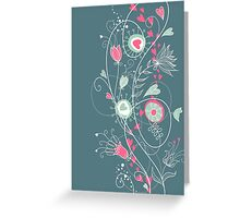 Lovely Flower Border with Hearts Greeting Card