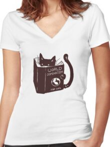 World Domination For Cats Women's Fitted V-Neck T-Shirt