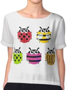 Various bugs collection. Vector cartoon Illustration Chiffon Top