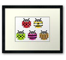 Various bugs collection. Vector cartoon Illustration Framed Print