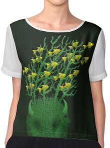 Sea Buffalo Dreaming Green Heart  Women's Chiffon Top