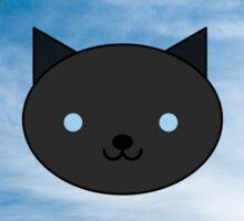Dragonfly - Kawaii Black Cat Blue Eyes - Mountain Background Sticker