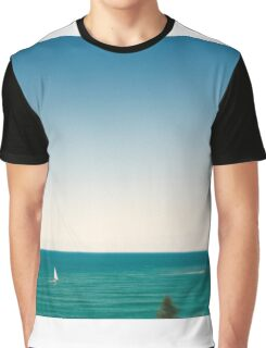 Sunny sky and white sail boat Graphic T-Shirt