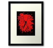 Scissors - bleached red Framed Print