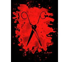 Scissors - bleached red Photographic Print