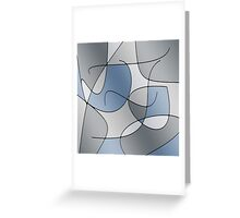 ABSTRACT CURVES-1 (Greys-3)-(9000 x 9000 px) Greeting Card