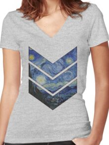 Starry Night Women's Fitted V-Neck T-Shirt