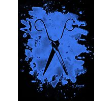 Scissors - bleached blue Photographic Print