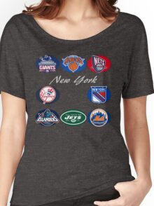 New York Professional Sport Teams Collage  Women's Relaxed Fit T-Shirt