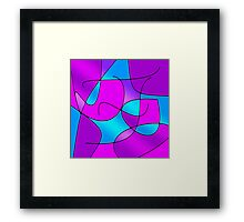 ABSTRACT CURVES-1 (Purples, Violets, Fuchsias & Turquoises)-(9000 x 9000 px) Framed Print