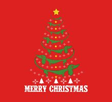 Merry Dachshund Christmas.! Womens Fitted T-Shirt