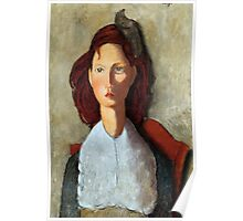 Young Girl, Seated, by Amedeo Modigliani Poster