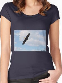 Bald Eagle Flying in the Clouds Women's Fitted Scoop T-Shirt