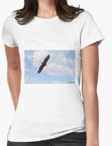 Bald Eagle Flying in the Clouds Womens Fitted T-Shirt
