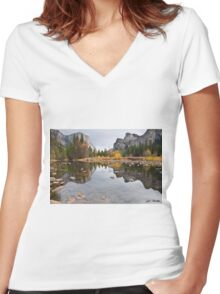 El Capitan Reflected in the Merced River Women's Fitted V-Neck T-Shirt