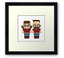 Hipster dude and chick Framed Print