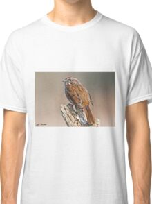 Song Sparrow on a Driftwood Perch Classic T-Shirt
