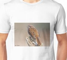 Song Sparrow on a Driftwood Perch Unisex T-Shirt