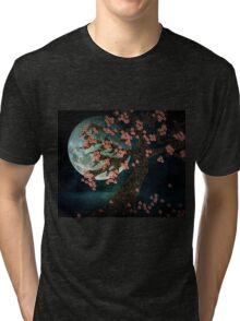 Cherry Blossoms and the Full Moon Tri-blend T-Shirt