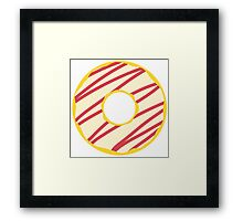 White Striped Donut Framed Print