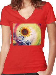 BLOOMING BRIGHT Women's Fitted V-Neck T-Shirt