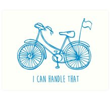 Hipster bicycle - blue Art Print
