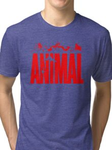 animal, fitness, muscle, strong, bodybuilding, logo, symbol, nutrition, vitamin, booster, barbell, club. Tri-blend T-Shirt