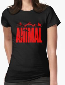animal, fitness, muscle, strong, bodybuilding, logo, symbol, nutrition, vitamin, booster, barbell, club. Womens Fitted T-Shirt
