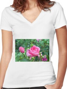 Pink roses in the garden. natural background. Women's Fitted V-Neck T-Shirt