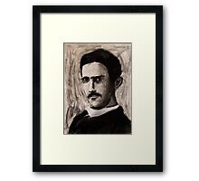 Nikola Tesla charcoal drawing Framed Print