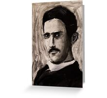 Nikola Tesla charcoal drawing Greeting Card