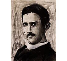 Nikola Tesla charcoal drawing Photographic Print