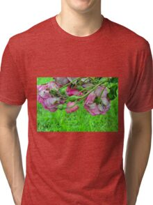 Pink roses in the garden. natural background. Tri-blend T-Shirt