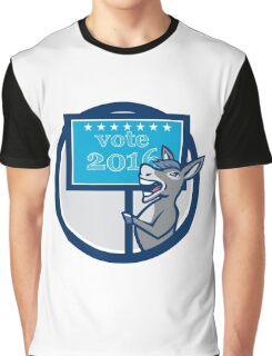 Vote 2016 Democrat Donkey Mascot Circle Cartoon Graphic T-Shirt