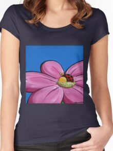 Splatter Flowerbed - Ladybeetle Women's Fitted Scoop T-Shirt