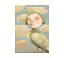 Green Crested Ladytoo Art Print