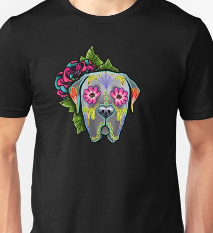 Mastiff in Grey - Day of the Dead Sugar Skull Dog Unisex T-Shirt